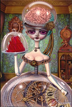 ARTIFICIAL INTELLIGENCE This 4-by-6-inch mini print, titled Artificial Intelligence, is just one of the unique, spooky items up for sale in Bob Doucette's Creepy Crafters shop. - COURTESY IMAGE BY BOB DOUCETTE