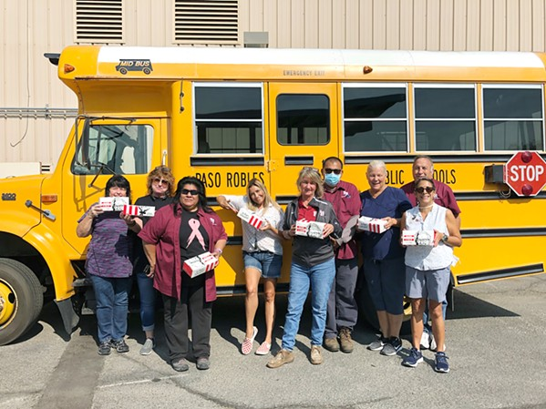 SMALL BUT MIGHTY Paso Robles Joint Unified School District's few school bus drivers enjoy a complimentary KFC lunch. - PHOTO COURTESY OF KELLY STAINBROOK
