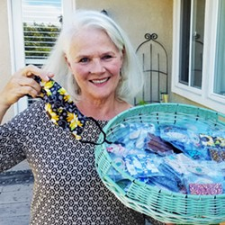 LOOKIE LOOPS Arroyo Grande resident Carol Chenot has been hand crafting and selling pouches for glasses and phones from her home for about four years, but this year, with the sudden need for masks, her world got a whole lot busier. - PHOTO COURTESY OF CAROL CHENOT