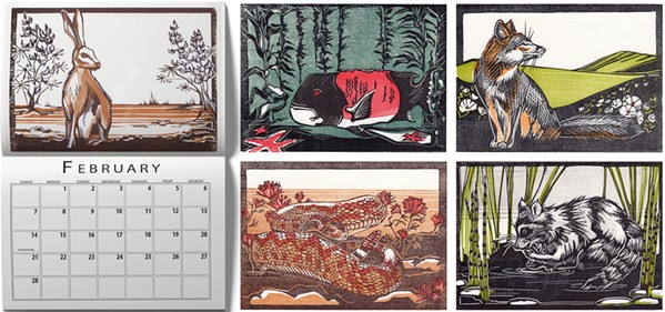 WILD AT HEART Lompoc printmaker Angelina LaPointe is showcasing a variety of her block print illustrations through her 2021 Flora and Fauna calendar. Each month includes a different portrait of local wildlife. - COURTESY IMAGE BY ANGELINA LAPOINTE
