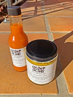 FERMENTED GOODS Colony Culture, owned by Erik Knapp's sister, Monika, is selling hot sauce, mustard, and more alongside Colony Mash beers. - PHOTO BY CAMILLIA LANHAM