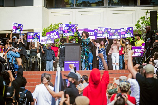 PROTESTING CHARGES As national protests called for police reform, a July 21 protest in SLO led to the arrest of activist Tianna Arata, who garnered support asking SLO County District Attorney Dan Dow to drop the charges against her. - FILE PHOTO BY JAYSON MELLOM