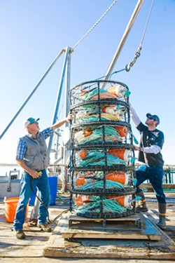 CHANGING SEASON Fisherman Bill Blue (left) and his crew member Bud Hurless (right) secure crab pots as they wait for the start of the season. - PHOTO BY JAYSON MELLOM