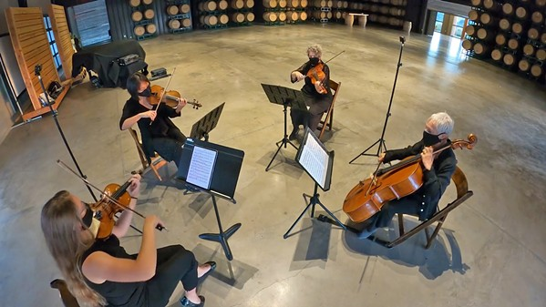 THE SHOW MUST GO ON SLO Symphony musicians record a performance at Cass Winery's barrel room in November. - FILE PHOTO COURTESY OF THE SLO SYMPHONY