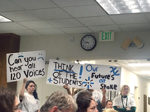 THE IMPACTS Paso Robles community members, students, and teachers attended a board meeting on March 10 to protest millions of dollars' worth of cuts to faculty, staff, and classes in the Paso Robles Joint Unified School District. - FILE PHOTO