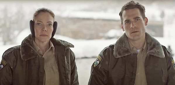 OVERMATCHED Small-town deputies Julia Robson (Riki Lindhome) and John Marshall (Jim Cummings) struggle to solve a series of gruesome murders in the deadpan funny horror-comedy The Wolf of Snow Hollow, available through Amazon Prime. - PHOTO COURTESY OF VANISHING ANGLE