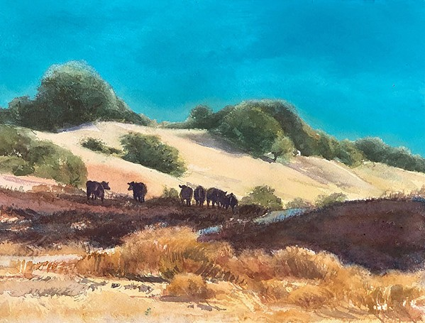 CATTLE SILHOUETTES Rosanne Seitz's watercolor captures grazing cattle on Santa Rita Ranch, which is newly acquired as a permanently protected space by the Land Conservancy of San Luis Obispo. Sustainable grazing will continue to maintain rangelands. - COURTESY IMAGE BY ROSANNE SEITZ