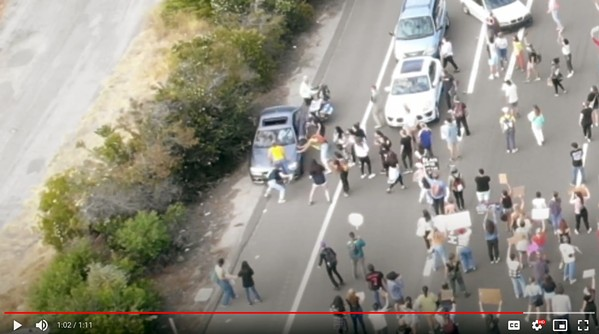 EVIDENCE The driver of a silver 2016 BMW sedan collides with local Black Lives Matter protestors on the southbound side of Highway 101 on July 21, 2020. - SCREENSHOT COURTESY OF SLO POLICE DEPARTMENT DRONE FOOTAGE
