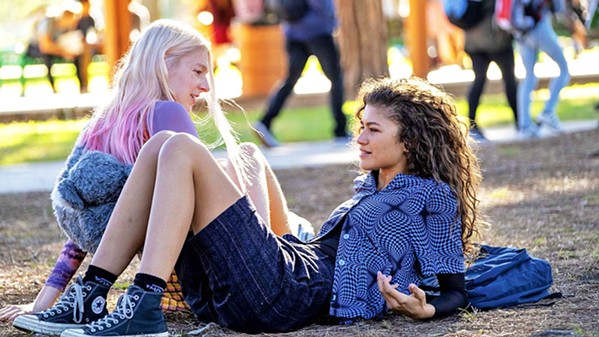 BESTIES Trans teenager Jules (Hunter Schafer, left) and her high school best friend, Rue (Zendaya), navigate the perils of sex, drugs, identity, and teen drama, in Euphoria, screening on HBO Max. - PHOTO COURTESY OF A24