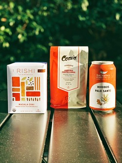 EXCELLENCE Rishi Tea & Botanicals, Coava Coffee Roasters, and Fine Feathers Co. Kombucha are the main products that Active Coffee Co. features. - PHOTO COURTESY OF STACY MAGANA
