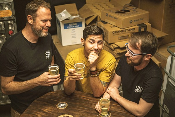 CIDER CREW Co-founders Pete Ayer, Jeremy Fleming, and Nate Adamski (left to right) opened SLO Cider Co. in March 2020, a couple of days before the first shutdown caused by the COVID-19 pandemic. - PHOTO COURTESY OF SLO CIDER CO.