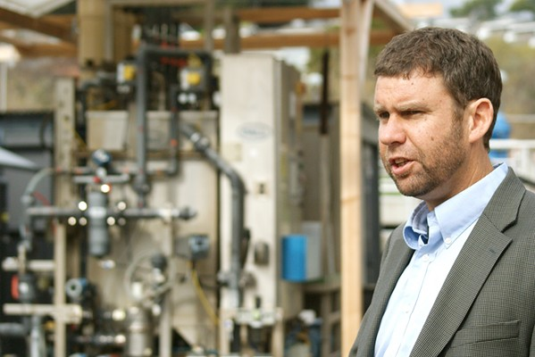 CENTRAL COAST BLUES Water Systems Consulting Engineer Dan Heimel leads a 2019 tour of a water recycling demonstration facility. The Central Coast Blue project would inject treated wastewater into the Santa Maria Valley Groundwater Basin. - FILE PHOTO BY AIDAN MCGLOIN