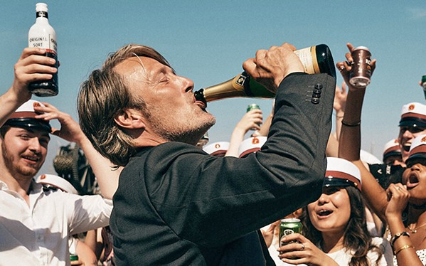 BOTTOMS UP Martin (Mads Mikkelsen), a joyless high school history teacher, experiments with alcohol to enliven himself, in Another Round, an Academy Award nominee screening on Hulu and Amazon Prime. - PHOTO COURTESY OF ZENTROPA ENTERTAINMENT