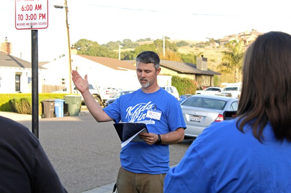 'ENOUGH IS ENOUGH' At a rally outside the Lucia Mar Unified School District office on May 4, Michael Mulder, vice president of Central Coast Families for Education Reform, announced plans to recall three of the district's board members. - PHOTO BY KASEY BUBNASH