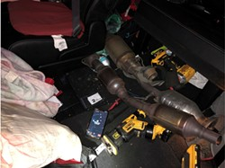SWIPED Catalytic converter theft is surging due to the part's high-valued precious metals, like palladium and rhodium. The global push to lower vehicle emissions—which catalytic converters help do—is also driving up their value to record levels. - PHOTO FROM SLOPD FACEBOOK PAGE