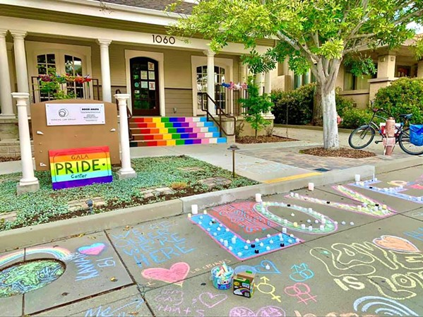 COMMUNITY SUPPORT A student organized vigil left chalk art to support the GALA Pride and Diversity Center after its sign was vandalized. - PHOTOS COURTESY OF THE GALA PRIDE AND DIVERSITY CENTER