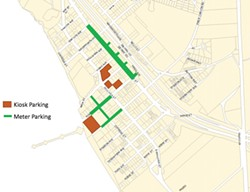 PAY TO PLAY Pismo Beach plans to install 146 meters along all curbs, the center median, and stub streets connected to Price Street between Pomeroy and San Luis avenues. - SCREENSHOT FROM PISMO BEACH STAFF REPORT