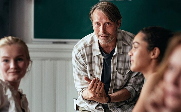 BOTTOMS UP Martin (Mads Mikkelsen), a joyless high school history teacher, experiments with alcohol to enliven himself, in Another Round, an Academy Award winner screening exclusively at The Palm Theatre. - PHOTO COURTESY OF ZENTROPA ENTERTAINMENT