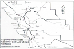 FIVE DISTRICTS SLO County is starting its redistricting work with a July 20 hearing. Pictured are the five current supervisorial districts, drawn in 2011. - MAP COURTESY OF THE SLO COUNTY LEAGUE OF WOMEN VOTERS