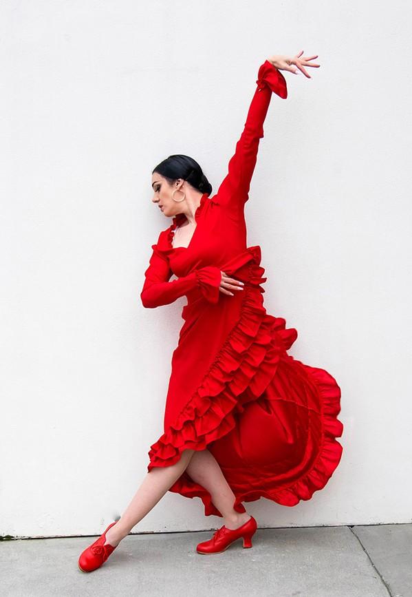 FLAMENCO FOR LIFE Dancer Savannah Fuentes will present her new show, Flores de Verano Flamenco en Vivo, with accompanist Diego Amador Jr., at the SLO Guild Hall on July 22. - PHOTO COURTESY OF SAVANNAH FUENTES
