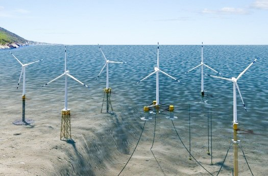 WIND ENERGY East Coast wind turbines (left) are bolted to the ocean floor by steel structures, and turbines installed on the West Coast could potentially float off the shores of Morro Bay. - RENDERING COURTESY OF BOEM