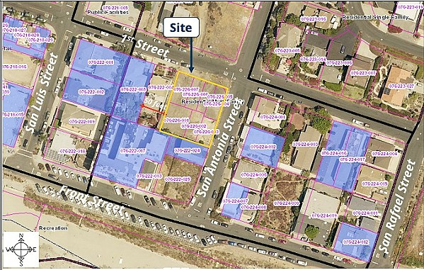 SURROUNDED A map shows the many already existing vacation rental properties (highlighted in blue) that surround the HDFT Investments housing development in Avila Beach. - IMAGE FROM SLO COUNTY PLANNING COMMISSION REPORT