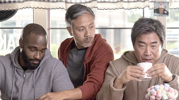 AGING GRACELESSLY Three former kung fu prodigies—(left to right) Jim (Mykel Shannon Jenkins), Danny (Alain Uy), and Hing (Ron Yuan)—break out of their middle-aged doldrums to avenge their murdered former master, in The Paper Tigers, available at Redbox. - PHOTO COURTESY OF BEIMO FILMS