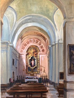 """TAKE ME TO CHURCH """"Just before COVID-19 hit, my husband and I had visited Madrid and the south of France, so I painted the small chapels and cathedrals we visited there,"""" Renée Kelleher said, commenting on one of her interior scenes, Chapel in Madrid, featured in Inside/Outside. - COURTESY IMAGE BY RENÉE KELLEHER"""