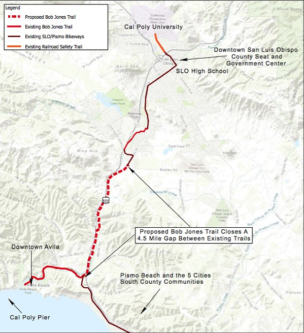 COMPLETING THE TRAIL After receiving a state transportation grant worth $18.2 million, SLO County is closer than ever to completing the 4.4-mile extension of the Bob Jones Trail. - MAP COURTESY OF SLO COUNTY PARKS AND RECREATION