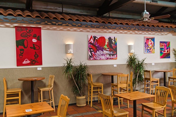 BOLD AND BRIGHT Abstract paintings by SLO artist Noah Erenberg are on display at Big Sky Café through August. - PHOTOS BY JAYSON MELLOM
