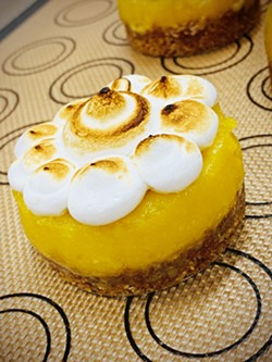 HANDCRAFTED DAILY Monika Anderson's menu extends beyond macarons to cookies, muffins, scones, frittatas, quiches, and whatever strikes her fancy, such as a lemon tart. - PHOTO COURTESY OF MONIKA'S MACARONS