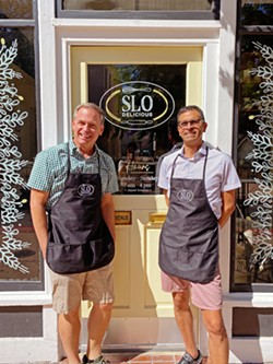 ON A ROLL Owner Michael Martineau, left, and chef Gonzalo Huerta celebrated the soft opening of SLO Delicious on June 30. Stay tuned for details on its upcoming ribbon-cutting ceremony. - PHOTOS COURTESY OF SLO DELICIOUS