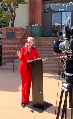STEPPING DOWN SLO Mayor Heidi Harmon talks about her decision to step down as mayor, after she accepted a new job at the Santa Cruz-based Romero Institute. - PHOTO BY MALEA MARTIN