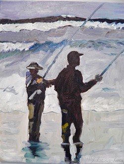"""GO FISH Out of all the oil paintings featured in her latest Santa Maria exhibit, Taffy French-Gray is most proud of """"the one of the two fishermen,"""" she said, referring to her portrait of two silhouetted figures armed with fishing poles, standing on a shore with the ocean water up to their feet. Abstract strokes of crashing waves can be interpreted in the distance. - COURTESY IMAGES BY TAFFY FRENCH-GRAY"""