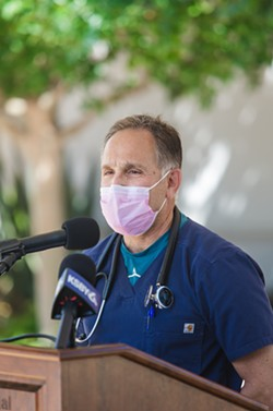 DIRE SITUATION Marian Regional Medical Center ICU doctor Barry Feldman speaks at a Sept. 2 press conference about the impact the Delta variant is having on medical workers and the community. - PHOTO BY JAYSON MELLOM