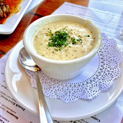 FALL FAVORITE Moonstone Beach Bar & Grill's chowder boasts a blend of clams, potatoes, bacon, cream, and spices. Attend the Oct. 30 event for a cup, or hit the restaurant for a hearty helping served in a crusty sourdough round. - PHOTO COURTESY OF MOONSTONE BEACH BAR & GRILL