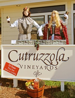 ROYAL RIESLING A prior-year scarecrow display at Cutruzzola Vineyards features the king and queen of wine, with the king representing pinot noir and the queen riesling—the winery's grape specialties. - PHOTO COURTESY OF CAMBRIA SCARECROW FESTIVAL