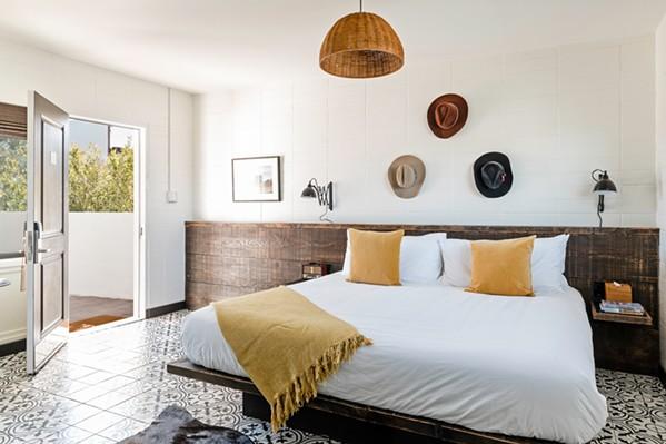 HATS OFF The Cuyama Buckhorn Roadside Resort's rooms strike a balance between traditional ranch aesthetics and modern, sleek furnishings. - PHOTO COURTESY OF CUYAMA BUCKHORN