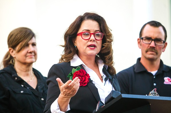 LAST DAY Outgoing SLO Mayor Heidi Harmon (pictured) received a threatening nude email on her final day in office. - FILE PHOTO BY JAYSON MELLOM