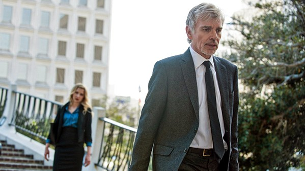 THE HARDER THEY FALL Disgraced lawyer Billy McBride (Billy Bob Thornton, right) teams with real estate agent and DUI lawyer Patty Solis-Papagian (Nina Arianda, left) to take on impossible cases, in Goliath, a neo-noir TV series set in sunny LA, screening on Amazon Prime. - PHOTO COURTESY OF AMAZON STUDIOS AND PICROW
