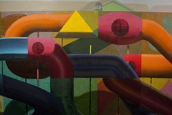 REALITY WARP :  Dove's colorful yet barren Precita Playscape plays Escher-like games with the eye. - ARTWORK BY DANIEL DOVE; PHOTOS BY STEVE E. MILLER