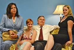 YOU'RE GETTING COLDER :  In 'Last of the Red Hot Lovers,' a trio of potential lovers blow hot and cold with leading man Barney. From left to right: Jeanette Fisher (Cynthia Anthony), Bobbi Michele (Melanie Portney), Barney Cashamn (David Norum) and Elaine Navazio (Angela Hutt). - PHOTO COURTESEY OF WINE COUNTRY THEATER