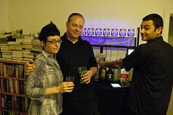 THE A TEAM! :  Erin Berman, Robert Kaye, and Pierre Michael are the trio responsible for Party Robotics, the local company that makes Bartendro bartender robots. - PHOTO BY STEVE E. MILLER