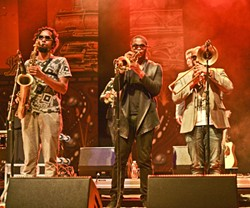 PHAT HORNS:  (left to right) Kebbi Williams, Maurice Brown, and Saunder Sermons filled out the Tedeschi Trucks Band's booming 11-piece sound. - PHOTO BY GLEN STARKEY