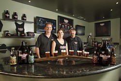 CHEERS!:  Much to the delight of beer drinkers, Tim Moscardi, Melissa Moscardi, and Bud Porter (left to right) recently opened Pismo Beach Brewing Company. - PHOTO BY STEVE E. MILLER