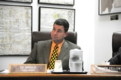 NUMBERED DAYS? :  Arroyo Grande City Councilman Ed Arnold pleaded not guilty April 14 to charges of possessing child pornography. His attorney says the elected official doesn't plan to step down from office. - PHOTO BY ROBERT A. MCDONALD