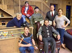 """CAT GOT YOUR TONGUE?:  Drama and intrigue begin to sizzle at a fishing lodge in rural Georgia when Charlie (Mike Mesker) pretends he's a foreigner who can't speak English. Cast from left to right, back row:  Betty Meeks (Patty Thayer), Owen Musser (Darren Doran), """"Froggy"""" LeSueur (Darrell Haynes), Rev. David Marshall Lee (Bobby Kendrick), and Catherine Simms (Casey Canino). Front row: Ellard Simms (Sean McCallon) and Charlie Baker (Mike Mesker). - PHOTO COURTESEY OF JAMIE FOSTER PHOTOGRAPHY"""