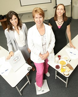 TESTING, TESTING :  Suzanne Phelan (left) is the principal investigator, Susan Rasmussen (center) is the program nurse, and Anna Brannen is the coordinator of a collaborative diabetes study by Cal Poly and Sierra Vista Regional Medical Center. - PHOTO BY STEVE E. MILLER