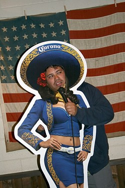 SIDE SPLITTING:  Pete Munoz of San Jose makes a picture-perfect Corona Girl at Tent City Brewing Company Comedy Night's two-year anniversary, which took place on Cinco de Mayo. - PHOTO BY HAYLEY THOMAS