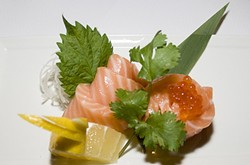 A TASTE OF SCOTLAND:  The six-piece Scottish salmon with salmon roe is one of Kanpai Sushi's most popular sashimi orders. - PHOTO BY DAN HARDESTY